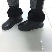"""""""зимние короткие ботинки с отворотом черные"""