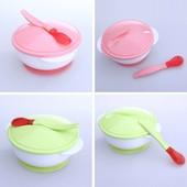 Набор посуды для кормления на присоске тарелка, крышка, ложка