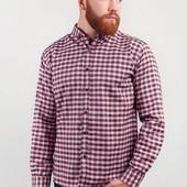 Рубашка мужская клетчатая на зиму №208F016 бело-коричневый,бело-синий,бело-серый,молочно-красный
