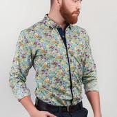 Рубашка мужская с цветочным принтом №243KF009 бирюзовый,персиковый,синий