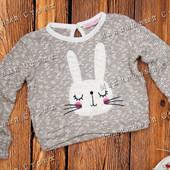 Теплый свитер на девочку, 92, 98, 104, 110 размер, заяц, Турция, 100% хлопок