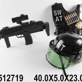 Военный набор каска, бронежилет, автомат на батарейках, свет, звук 40,0*5,0*23,0см