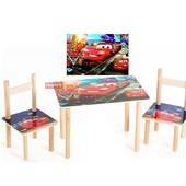 Детский столик Тачки и 2 стульчика, мдф+бук.Доставка Арт 062