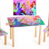 На 2-5 лет. Столик и два цветных стульчика Винкс Арт. 065