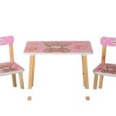 Деревянный столик со стульчиками 501-9 розовый мишка