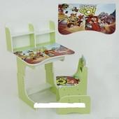 "Парта школьная растишка 006 ""Angry Birds"", салатовая"
