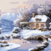 Картина по номерам Turbo Зимний домик VP208