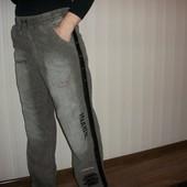 мужские брюки спортивного стиля тёплые микровильвет