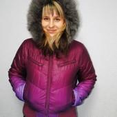 Красивая демисезонная куртка Оodji с натуральной опушкой