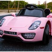 Детский электромобиль Porsche Spyder FT 1038+eva колесах,розовый