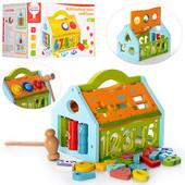 Деревянная игрушка Стучалка сортер домик
