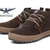 Ботинки мужские зимние кожаные Montana casual brown на меху