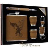 Подарок, набор - фляга с рисунком, стаканчики, ручка, брелок на подарок.