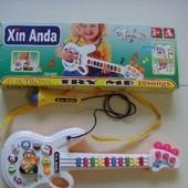 Детская гитара звуковая караоке на батарейках 956