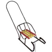 Санки с съемной спинкой и ручкой толкателем