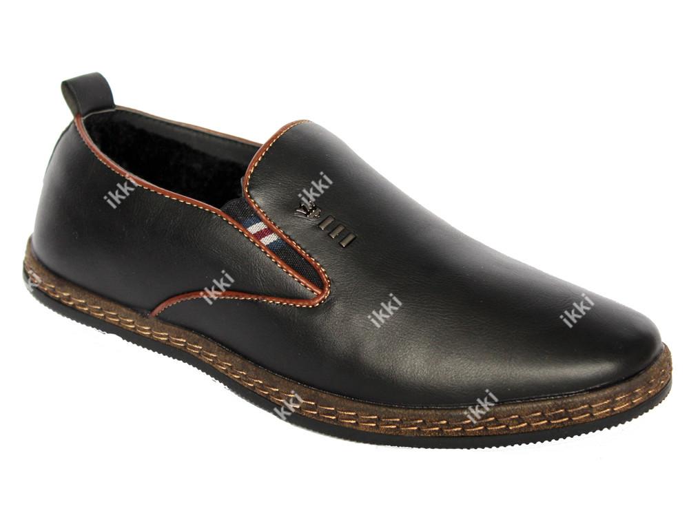 Зимние мужские туфли мокасины на меху (56-2) фото №1