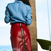 Юбка кожаная красная со змейкой сзади Юбка карандаш миди 3 цвета офисная юбка