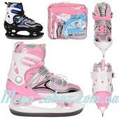 Ледовые коньки/хоккейные коньки раздвижные Profi 4043: 32-35 размер, 2 цвета