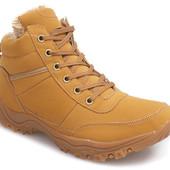 Код: gr1190  Мужские класичные зимние теплые ботинки на шнуровке корычневого цвета