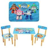 Деревянный Столик с двумя стульчиками Robocar Poli 501-12