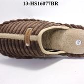 13-HS16077BR  Мужские домашние тапочки, цвет-коричневый, размеры 41/42 - 45/46