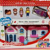 Игрушечный кукольный домик с фигурками и мебелью