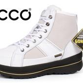 Ботинки Ecco Gore-tex Hill white женские зимние кожаные белые