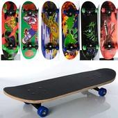 Скейт -70,5-20см,пласт.подвеска,колесаПВХ,7слоев,6видов,608Z,разобр,доска в кульке,
