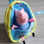 Детский рюкзак со сьемной игрушкой свинка пеппа Peppa pig 3 вида
