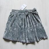 Новая нарядная велюровая юбка для девочки. Pep&Co (Англия). Размер 6-7 лет