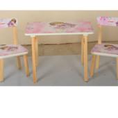 Деревянный столик со стульчиками 501-2 Девочки