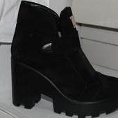 Ботиночки на каблуке зима, замша, 36-40р.