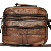 Кожаная мужская сумка удобная 2 в 1 коричневая 8016