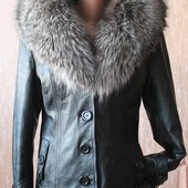 Зимняя кожаная куртка. Pазмер M-L