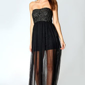 S-M Boohoo новое платье в пол бюстье с фатином и позолотой!0356