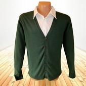 Мужской кардиган темно-зеленого цвета хлопок р.L Takko Fashion Германия
