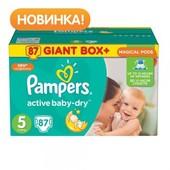 Последняя коробка Подгузники Pampers Active Baby-Dry junior 5 (11-18 кг) giant box plus, 87 шт.