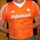 Стильная оригинал спортивная футбольная футболка Adidas Зб Голандии с автографами играков