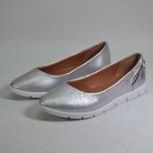 Новая коллекция ВЕсна 2017 туфельки балетки Модель: ПР-129, серебро флотар