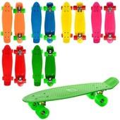 РаспродажаСкейт - пенни,55-14,5см, алюм.ска, колесапу, свет, подшABEC-7, разобр, 8цветов