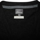 Кардиган кофта темно черно серая шерстяная мягкая Linea Luxury Merino M
