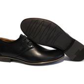 Туфли YDG, р. 40-45, натур. кожа, син, черн, код gavk-10034