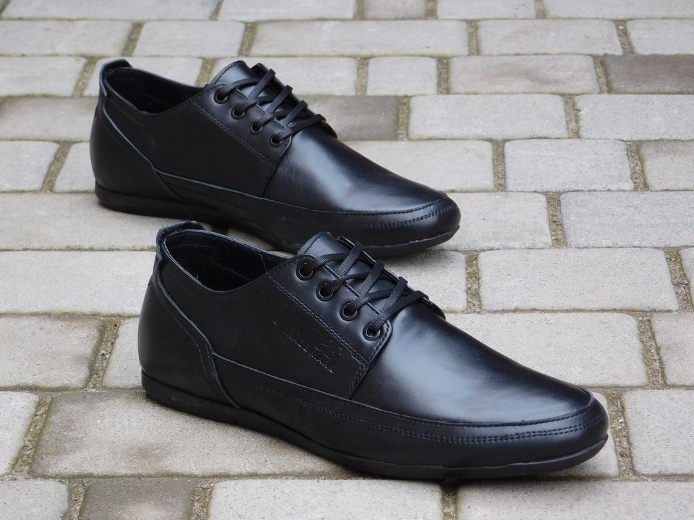 Туфли Yuves, р. 40-45, натур. кожа, син, черн, код gavk-10048 фото №1