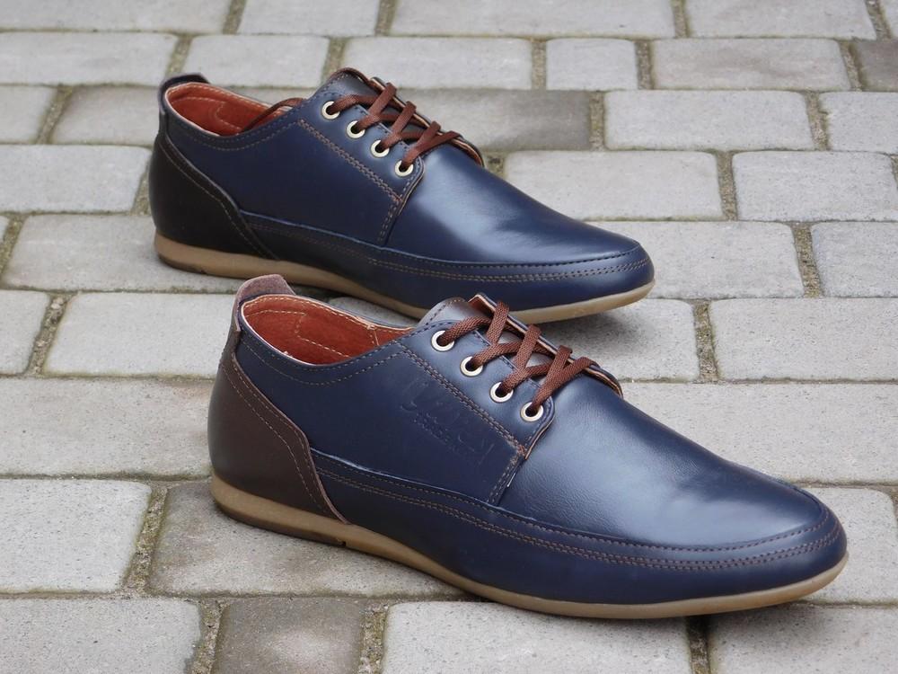 Туфли Yuves, р. 40-45, натур. кожа, син, черн, код gavk-10048 фото №2