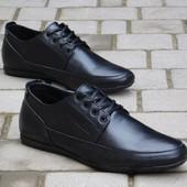Туфли Yuves, р. 40-45, натур. кожа, син, черн, код gavk-10048