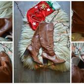 Натуральные кожаные рыжие сапоги р-р 38