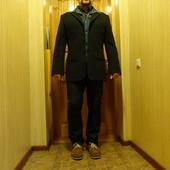 Толстый мягкий полосатый х/б пиджак с джинсовой манишкой Relakz Голландия.  L.