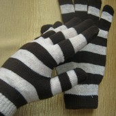 Очаровательные вязаные перчатки в полоску от Tchibo, Германия
