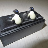 """запонки """"Пингвины"""" нержавеющая сталь"""