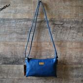 Стильный строгий синий женский клатч сумка кроссбоди недорого